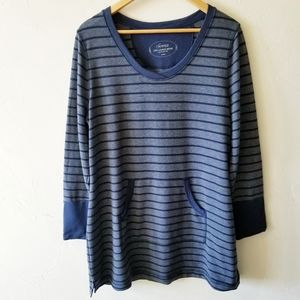 Soma Live Lounge Wear Blue Striped Tunic Top